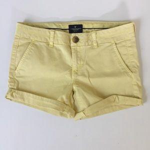 American Eagle Yellow Midi Shorts